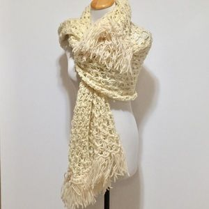 Handmade Long Length Crochet Fringed Wrap Scarf